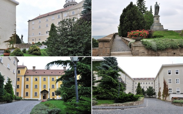 Walking to the church of Pannonhalma Archabbey.