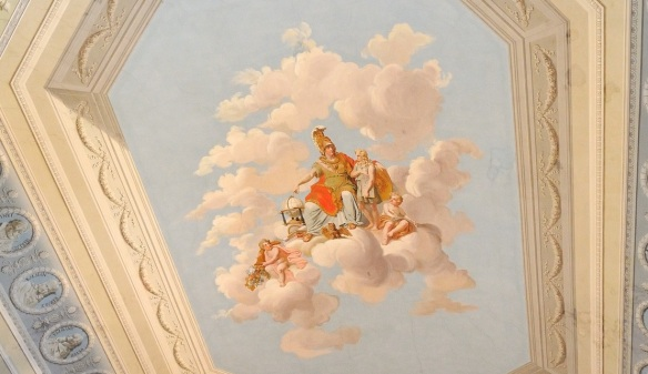 Pallas Athene (goddess of wisdom and useful arts and prudent warfare) on the big ceiling fresco in the library.