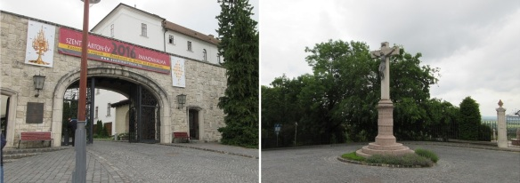 Main entrance of Pannonhalma Archabbey and Cross Square in front of the entrance.