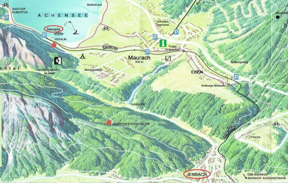 Map from Jenbach to Seespitz on Lake Achensee