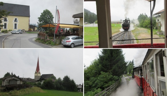 Scenery from the car window. Since passed the steep slope, the locomotive pulls passenger cars.