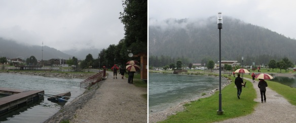 From the pier of Scholastika, walking to the village of Achenkirch in the light rain.