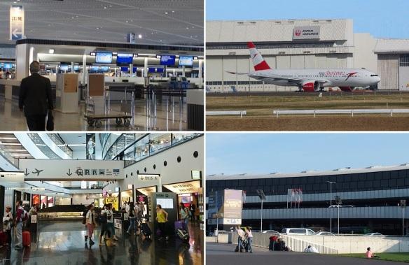 Narita International Airport check-in counter, Austrian Airlines Boeing 777, Vienna International Airport.