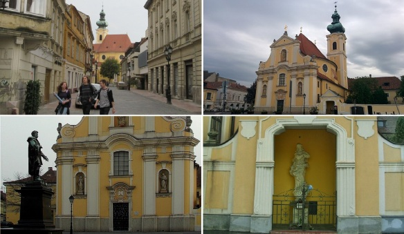 Kazinczy Street, Carmelite Church, Statue of Károly Kisfaludy and the Holy Mary on the Vienna Gate Square.
