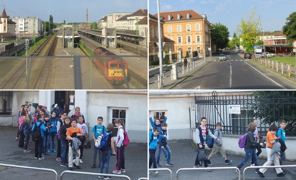 """Around the Győr railway station. Kids are going to school excursion. """"Bye, take care!"""""""