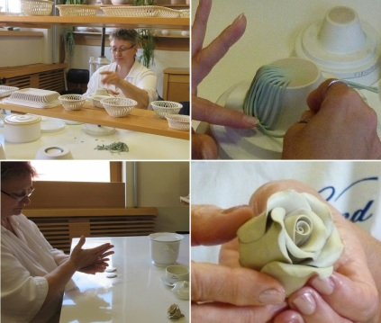 Putting thin string-formed clay to a model, it is very delicate work. Making some petals, then make up a rose.