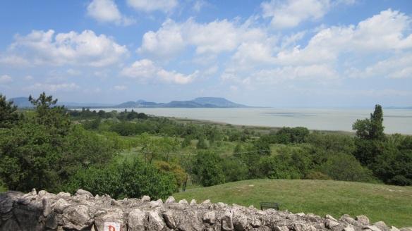 Lake Balaton and distant view of Tihany Peninsula