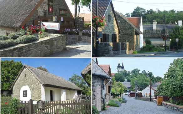 Tihany; Tourist Information Office, Old houses on Kossuth Lajos Street, Folk Museum and Distant view of Benedictine Abbey.