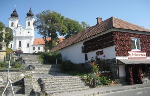 Tihany Abbey and paprika shop on the Kossuth Lajos Street.