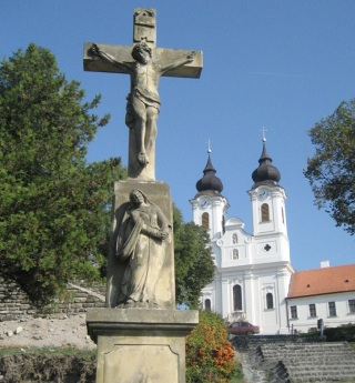 The crucifix in front of Tihany Abbey.