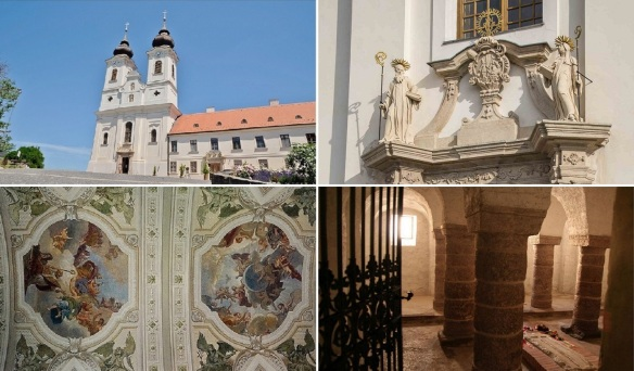 Tihany Abbey, facade of the church, ceiling fresco and crypt. We went into the church. The interior is very gorgeous.