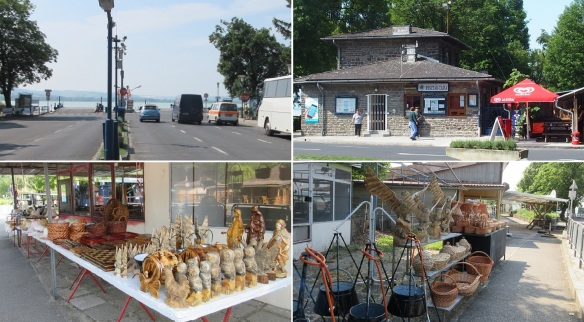 Tihany ferry Port; Vehicles are waiting for the ferry. Ticket office. Souvenir shops with a lot of folkcrafts.