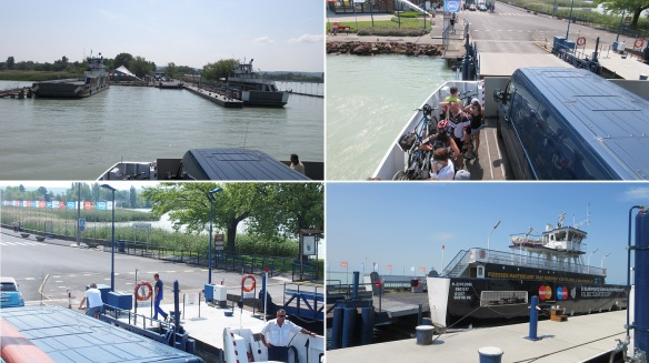 Tihany - Szántód Ferry; the ferry approaches to Szántód, comes alongside the pier and vehicles and passengers landed.