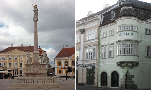 Mary's column and Iron Log House, Széchenyi Square