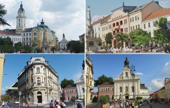 Széchenyi Square; City Hall, Hotel Nádor, Lorant Palace, Church of St. Sebastian Martyr
