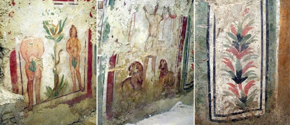 Murals on the burial chamber; The Fall of Adam and Eve, Daniel in the den of lions, Tree of life.