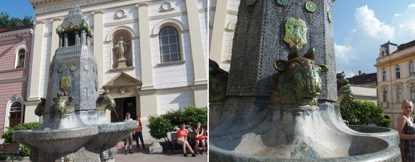 Zsolnay fountain Pécs; In front of the Hospitaller Church stands a Secession style eosin fountain.