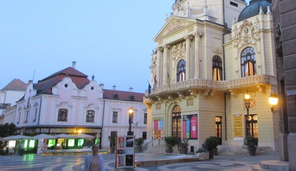 National Theatre of Pécs in dusk
