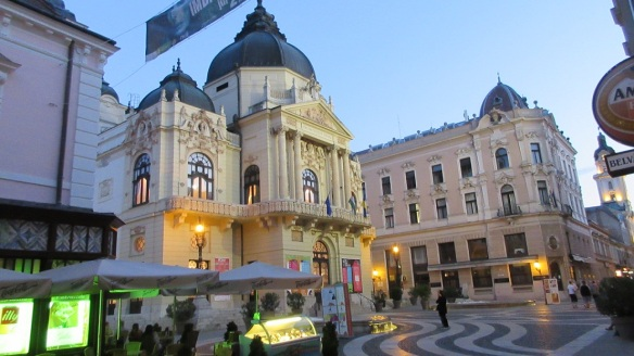 Really amazing National Theatre of Pécs is a blaze of light in the evening darkness.