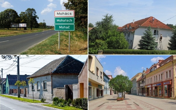 Going into the town of Mohács, through some storees and arrive at the Liberty street (Szabadság utca).