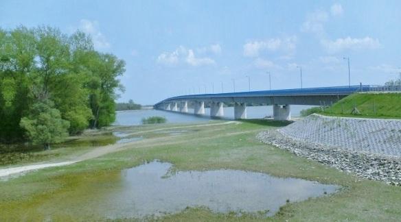 We cross the St. Ladislaus Bridge over the Danube.