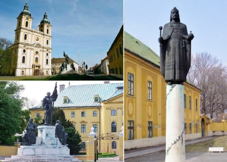 Square in front of the Cathedral, World War I Monument and Statue of St. Istvan Kalocsa.