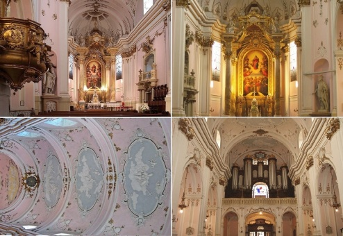 Inside of St. Mary's Cathedral; Altar, Altarpiece, Painting on the Ceiling and Pipe-organ.