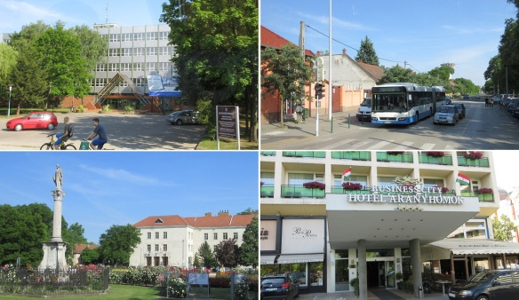 The city of Kecskemét, going to the booked hotel.