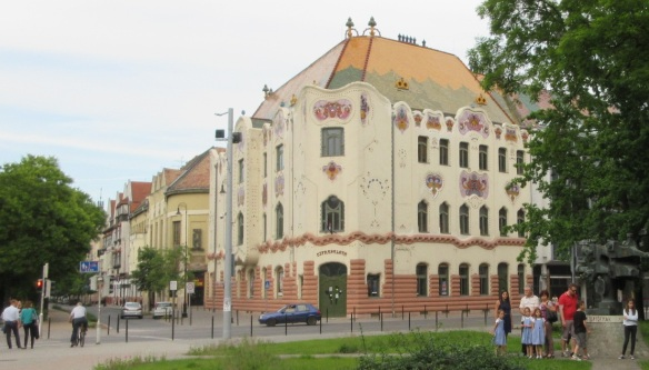 There is a building called Cifrapalota near the Science and Technology Hall. Cifrapalota (Cifra Palace) is a town house and a significant example of the Hungarian Art Nouveau.