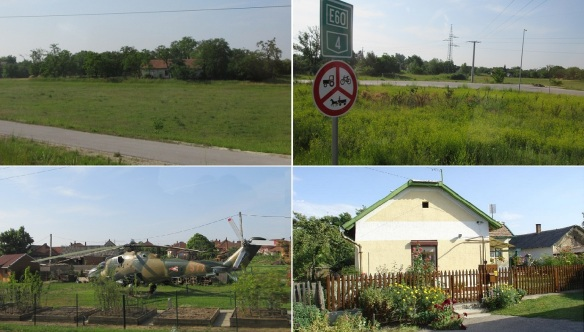 From the Tisza River, we are driving to the east along the Route E60. Mi-24 attack helicopter is displayed in the Szajol Village. And arrived in the town of Kunhegyes.