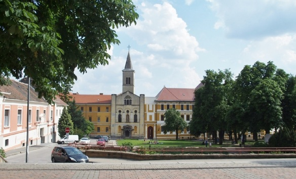 Scenery in front of Early Christian Cemetery, Our Lady Church of the Female Order and Saint István Square