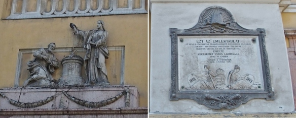The relief depicts Jesus gives the key of heaven to Saint Peter. The plaque is the memorial of Hungarian Revolution (1848 -1849).