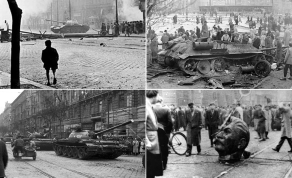 Hungarian Revolution 1956; The Soviet Union forces gaining control of Budapest. Destroyed Soviet troops T-34 tank. Soviet T-54 tanks in Budapest on 31 October. The head falling to the ground, Stalin is worse than Hitler.