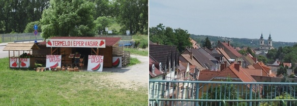 Going into the city of Eger; Stall of strawberry and watermelon, Distant view Eger.