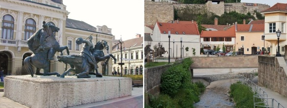 Statue of Dobo Istvan in the Gárdonyi Géza Square and Eger Creek.