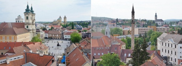 Views of Dobó István Square, Minorita Church and Turkish Minaret from the Eger Castle.