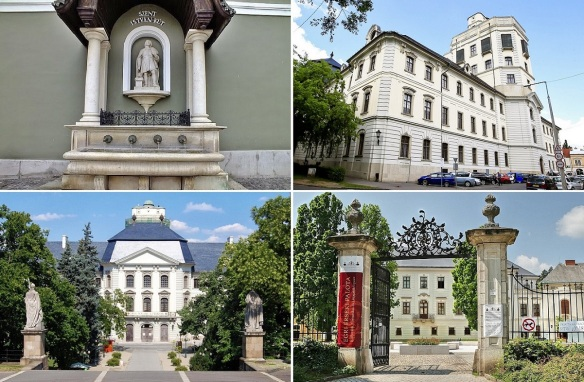 Walking to the cathedral of Eger through the Kossuth Lajos Street. St. Stephen's Fountain, Charles Esterhazy College, College History Museum and Archbishop's Palace