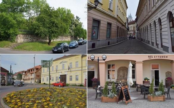 Street scene in the town of Eger Hungary.