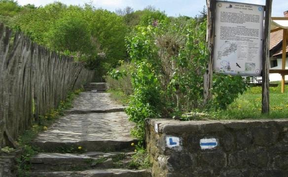 Narrow mountain path to Hollókő Castle.
