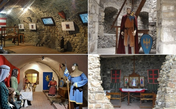 Historical materials are displayed in the castle.