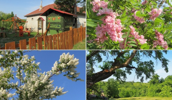 Leaving the village of Palóc, Hollókő. Playhouse for kids. Blossoms are in full bloom. The village of Palóc is embraced by green.