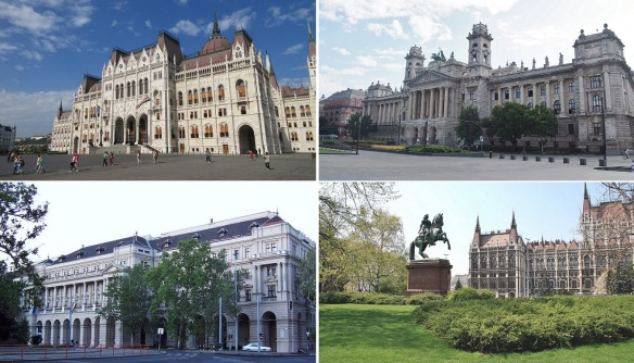 Kossuth Lajos square is surrounded by various buildings; Parliament Building, Ethnographical Museum, Ministry of Agriculture and Equestrian Statue of Francis Rákóczi II.
