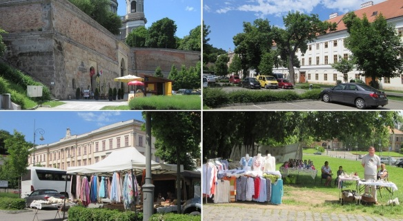 Square and souvenir shops in front of Esztergom Basilica.