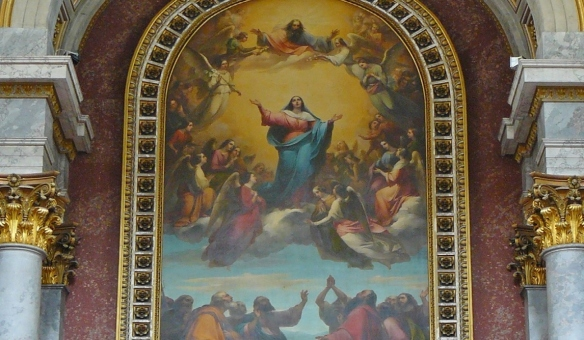 Altarpiece of Esztergom Basilica. Assumption, the body and soul of Our Lady into heaven.