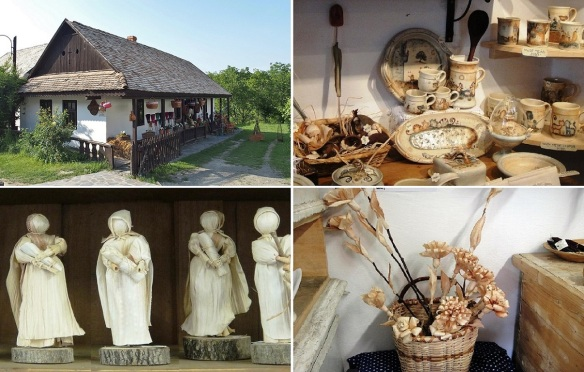 Souvenir shop of Hollókő. Traditional crafts of Palóc. Dolls and artificial flowers are made from corn hulls.