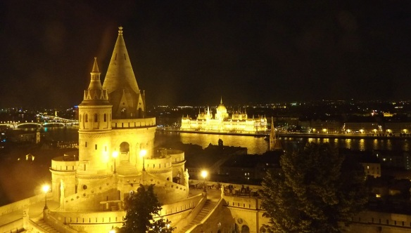 Fisherman's Bastion and Parliament of Budapest, night view of the hotel room.