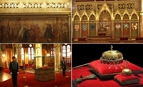 Murals of the Assembly hall and the Holy Crown of Hungary in the central hall.