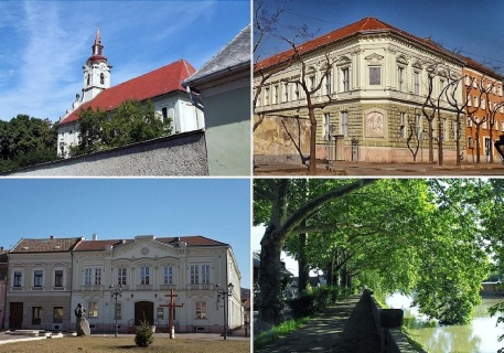 St Peter and St Paul Parish Church, Kossuth Lajos Street, Post Office in Széchenyi Square and Kis Duna stny (Little Danube Promenade)