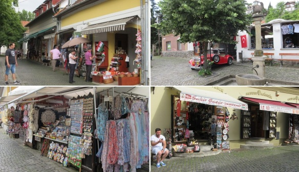 There are many souvenir shops in the town.