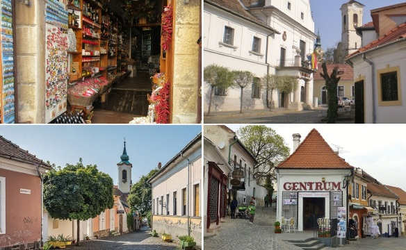 Paprika shop, City hall, Annunciation Church and Famous ice cream shop of Szentendre.